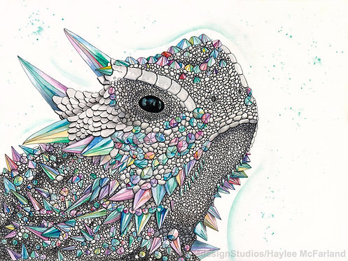 Crystal Horned Frog Print, Watercolor and Pen and Ink by Haylee McFarland