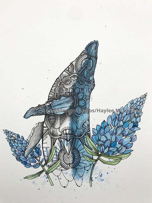 ORIGINAL Whale, Watercolor and Pen & Ink by Haylee McFarland