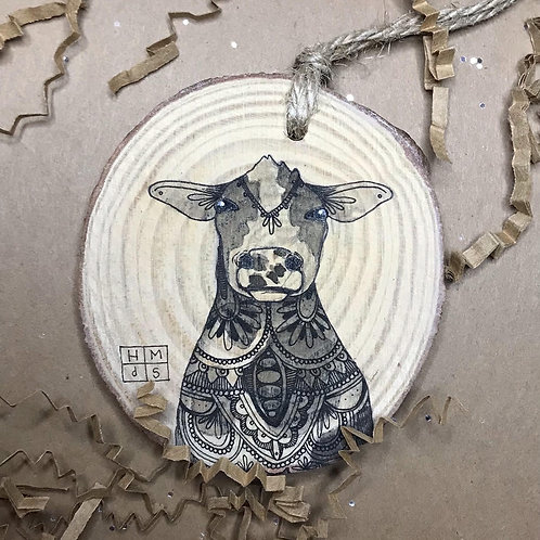 Cute Cow Ornament, ORIGINAL liquid acrylic and pen & ink, by Haylee McFarland