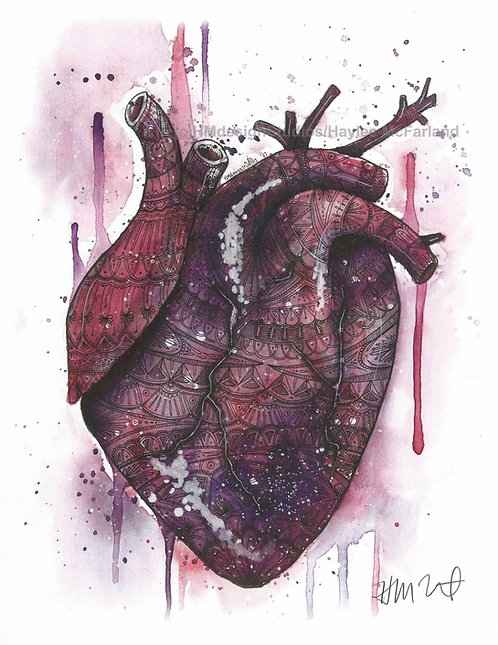 Cosmic Heart Print, Watercolor and Pen and Ink by Haylee McFarland