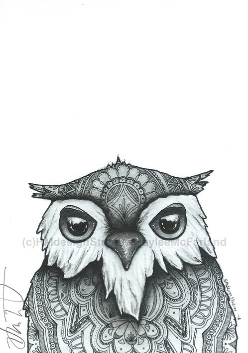 Adorable Owl Print, Watercolor and Pen & Ink, by Haylee McFarland