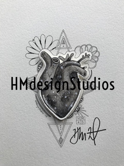ORIGINAL B&W Cosmic Anatomical Heart, Watercolor, Pen & Ink by Haylee McFarland
