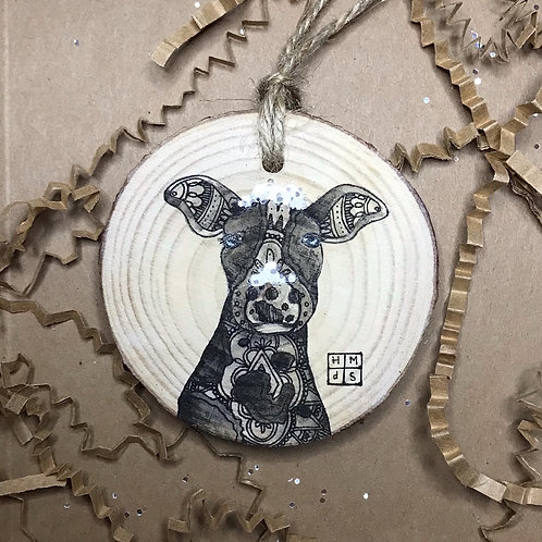 Snowy Cow Ornament, ORIGINAL liquid acrylic and pen & ink, by Haylee McFarland