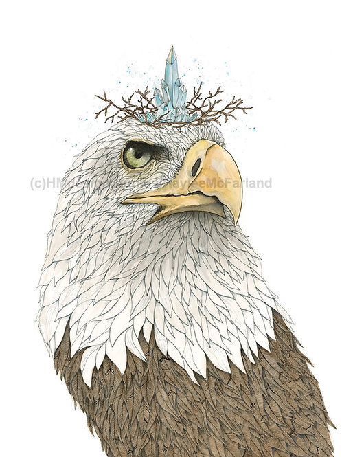 Eagle with Crown LIMITED EDITION PRINT , Watercolor, Pen&Ink by H.McFa