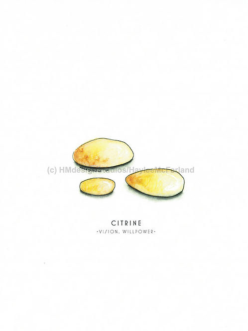 Citrine Crystal Greeting Cards, Watercolor and Pen & Ink by Haylee McFarland