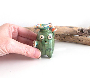 pottery creature incense holder
