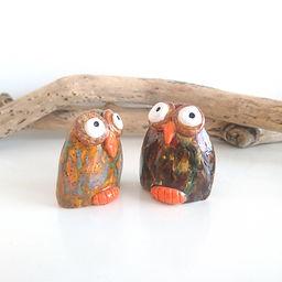 pair of studio pottery owls