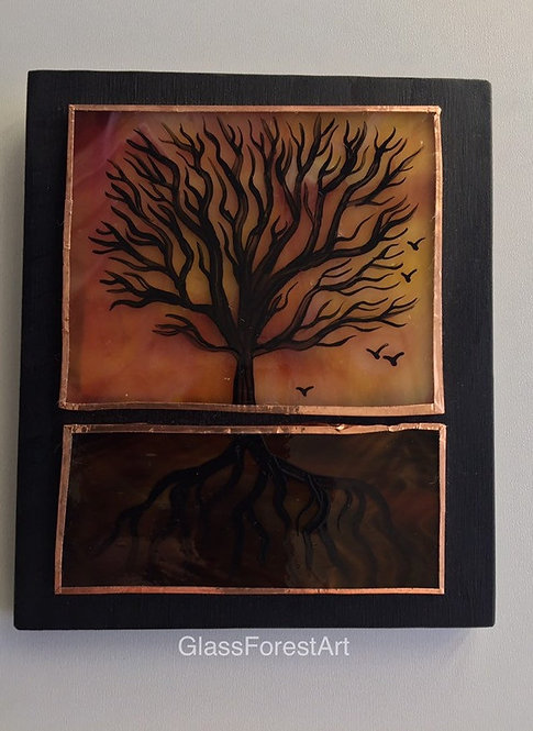 Tree of Life (Dark Yellow w/Pink Glass)