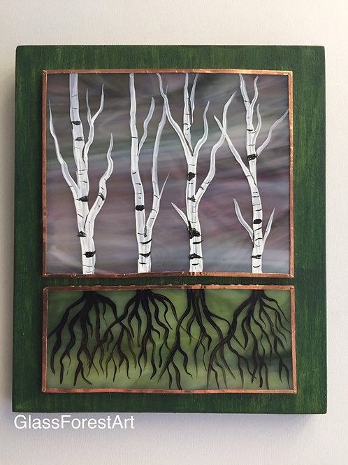 Tree Of Life Birch (Violet/Green Glass)