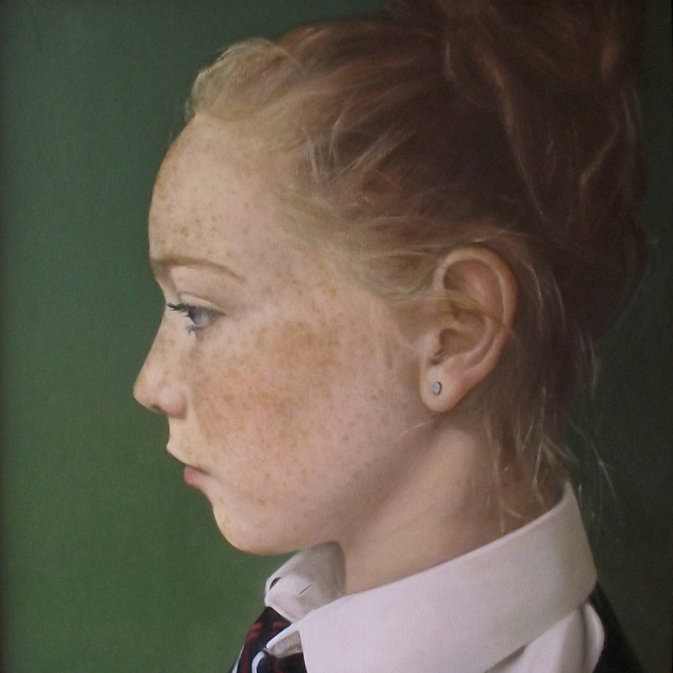 Pearl in Profile  oil on panel, 36 x 36cm