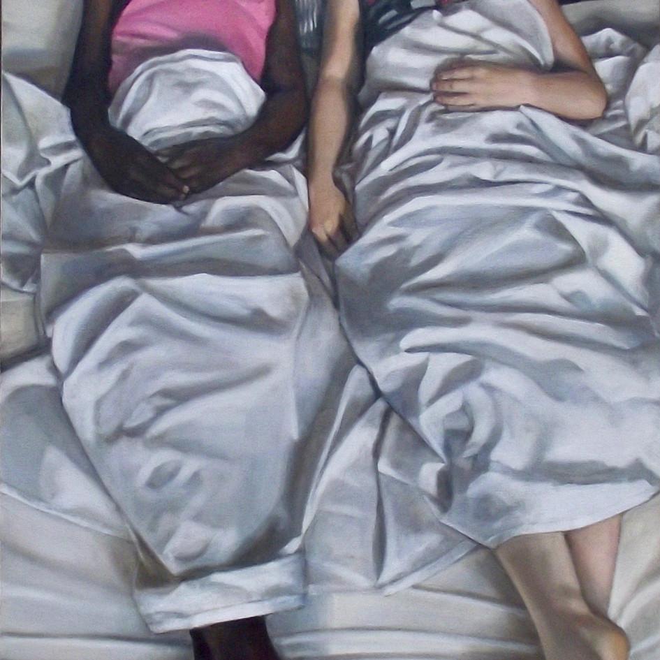 Sofabed Sleepover, Nuru and Rose   oil on panel, 45 x 90cm