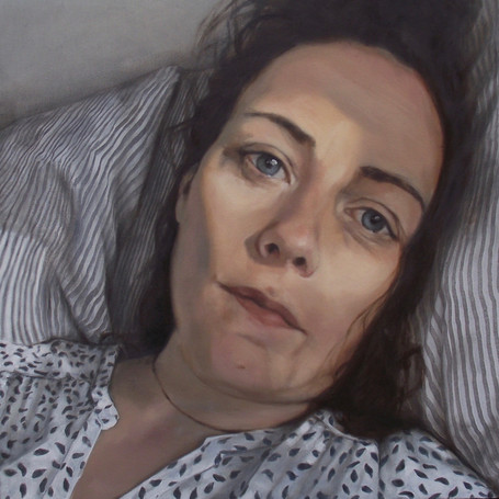 Self Portrait for Sky Arts Portrait Artist of the Year 2018  oil on panel, 40 x 40cm