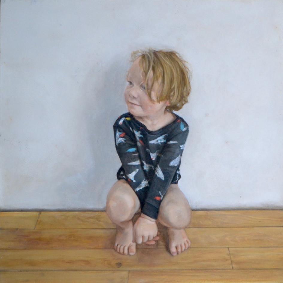 Found Albert crouching in the kitchen  oil on panel, 40 x 40cm