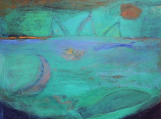 "Echo Through The Waters, acrylic on clayboard, 24"" x 30"""
