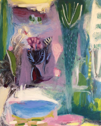 """Garden Beyond The Village, acrylic on canvas, 20""""x 16"""" SOLD"""