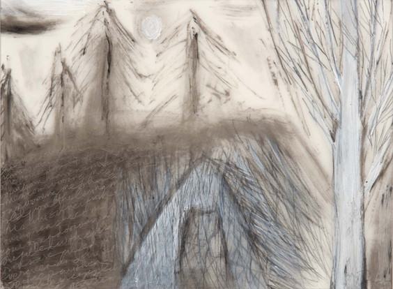 """She Comes Down From Heaven's Mountain, mixed media on vellum, 9""""x 12"""""""