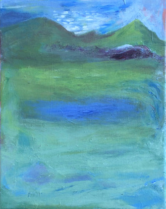 """Water In The Green, acrylic on canvas, 10""""x 8"""""""