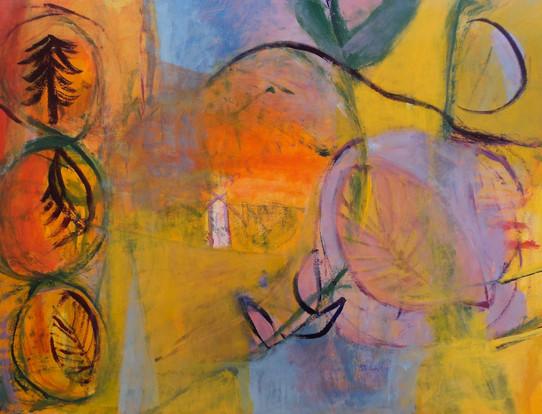 """The Trail Homeward, acrylic on paper, 19""""x 24"""""""