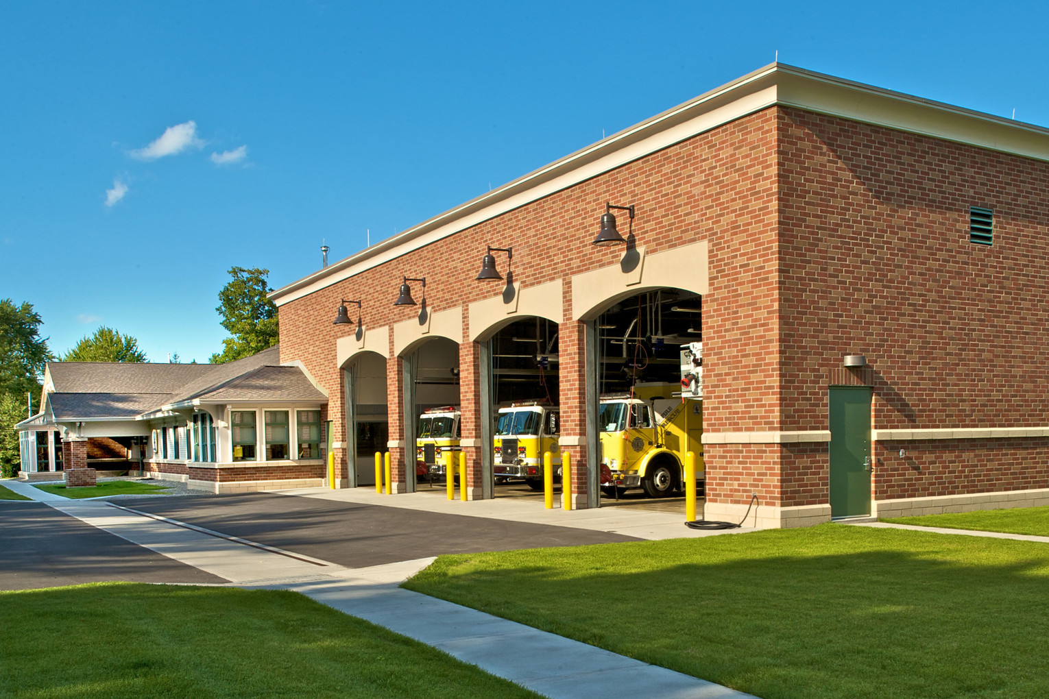 Skaneateles Fire Station - Exterior - Garage Doors Open