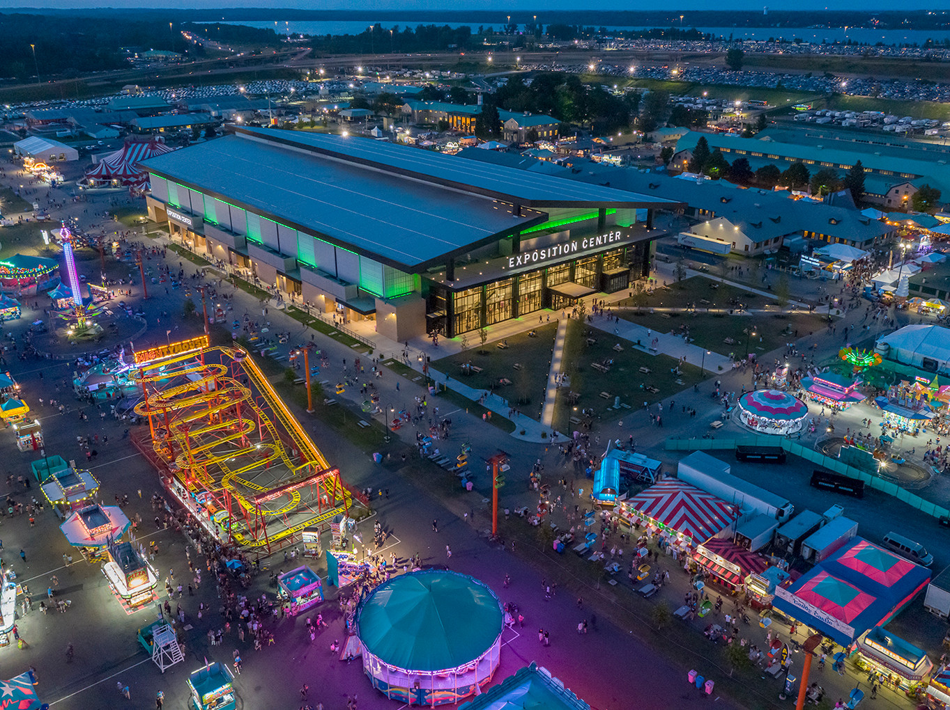 NYS Fairgrounds Expo Center - Aerial at Evening