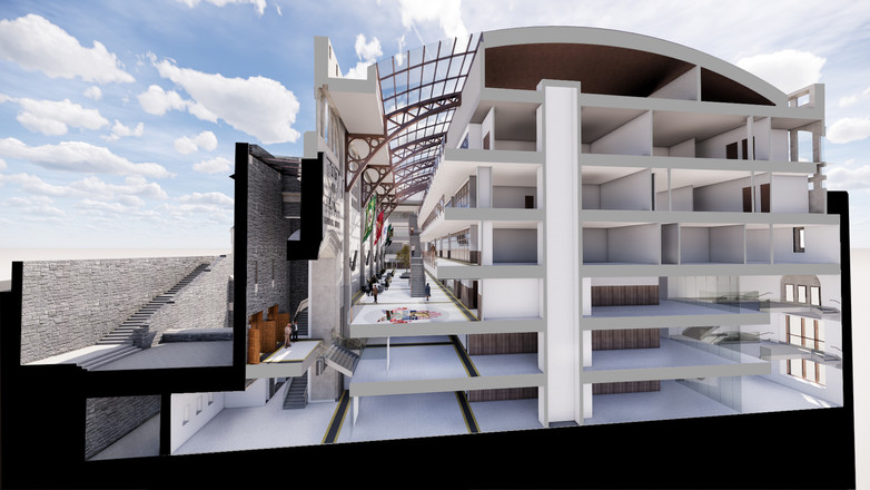 West Point Military Academy - Thayer Hall Renovation - Proposed Sectional Perspective of Grand Atrium