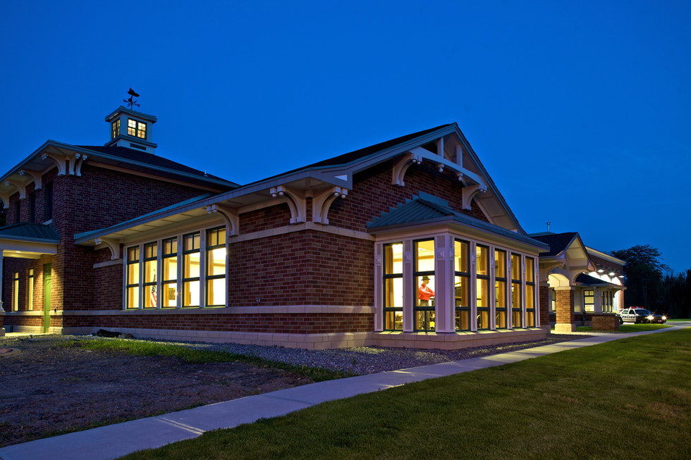 Skaneateles Fire Station - Exterior at Evening