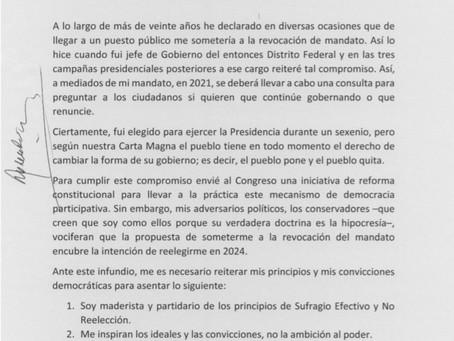 AMLO firma compromiso de no reelección; en 2021 se someterá a revocación de mandato