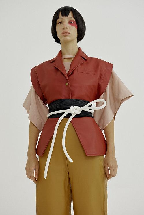 Senshi Rizōto Embossed Leather Vest