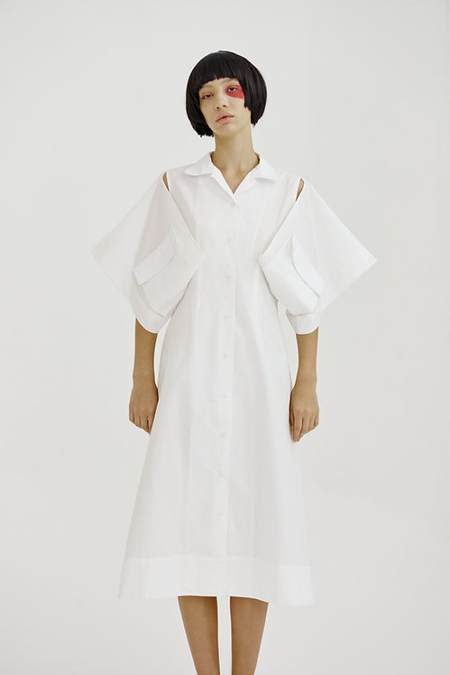 Cotton Kimono Dress Shirt in white
