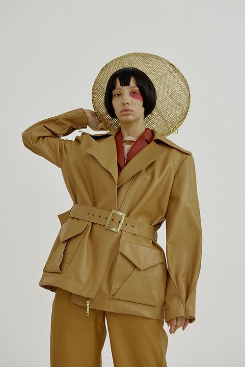 Kiku Oversized Leather Jacket with Back Embroidery