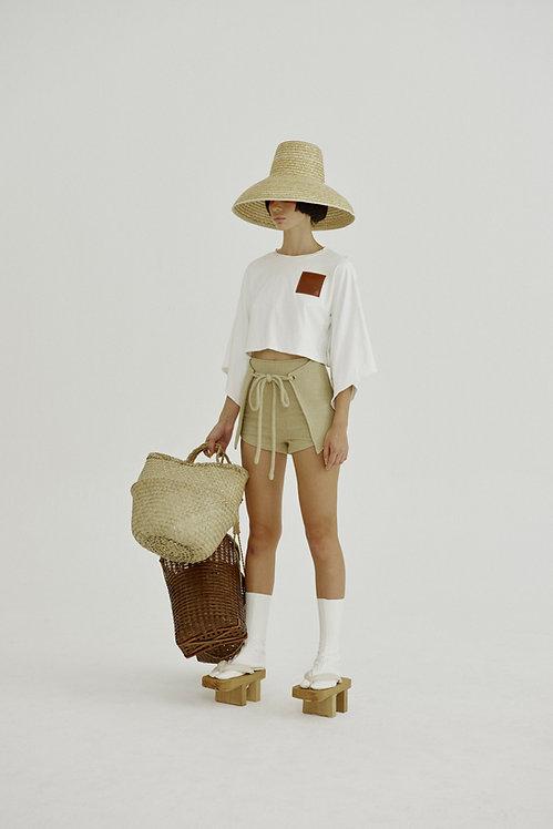 Woven Straw Mini Shorts