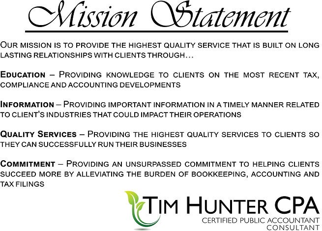Tim Hunter CPA Mission Statement