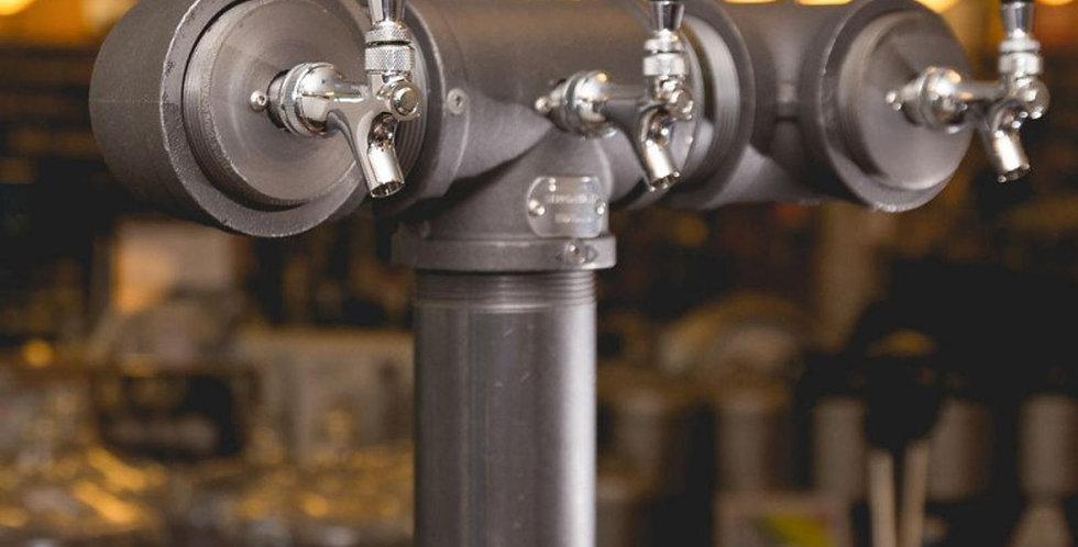 3 tap iron draft beer tower