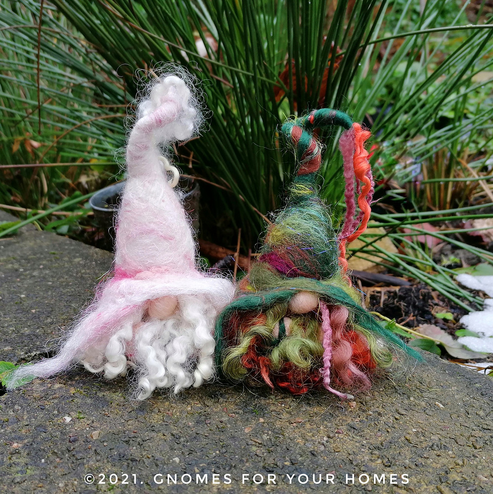 Hand felted woodland gnomes with long locks