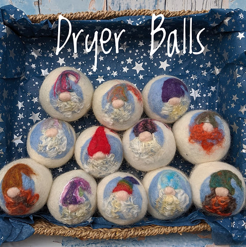 Six Felted Dryer Ball Gnomes