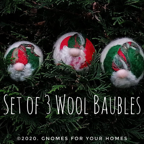 Gnome Wool Baubles