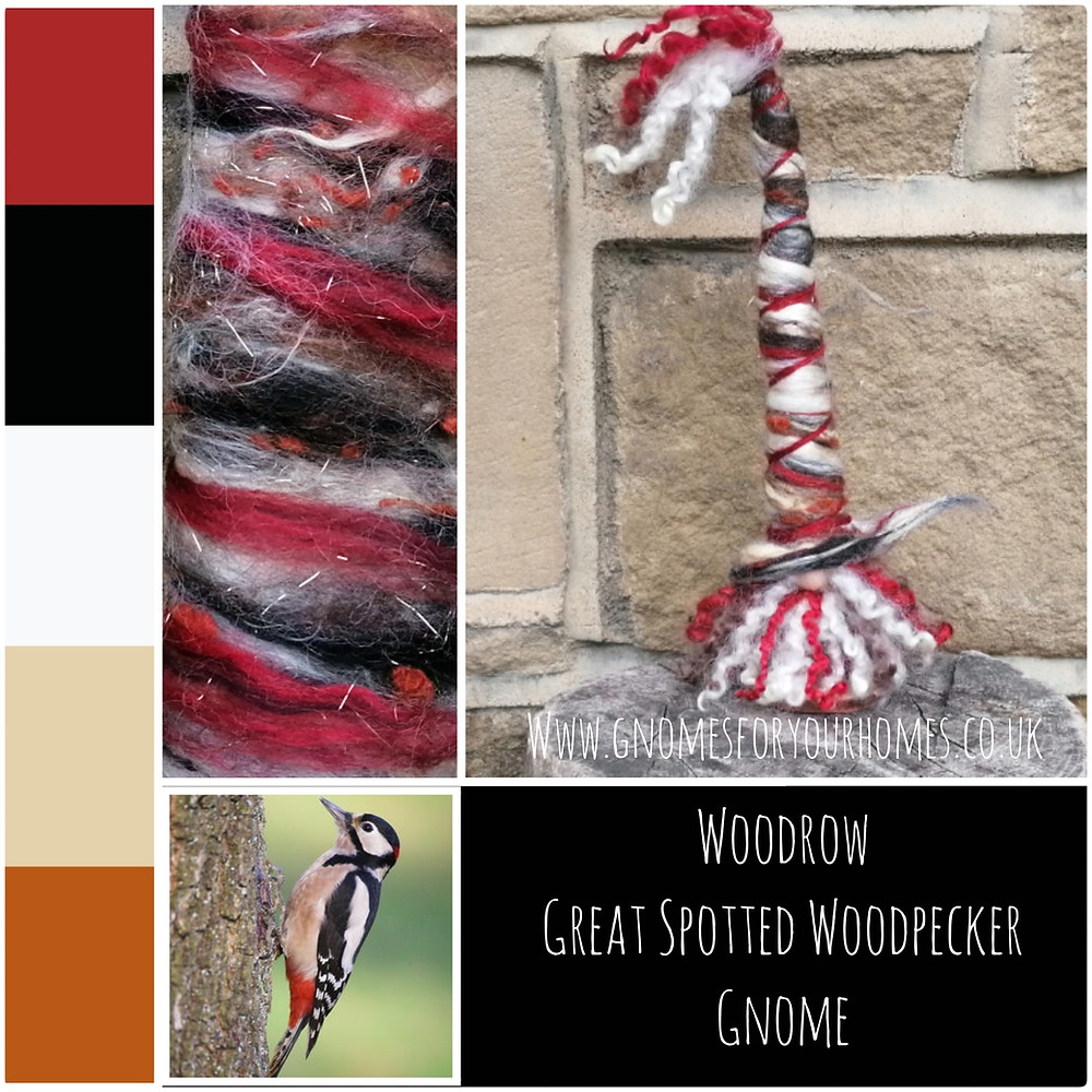 This hand felted gnome is Woodrow Woodpecker representing the Great Spotted Woodpecker that had been on my garden feeder. His hat is a blend of white alpaca, beige soya silk fiber, deep red merino, black bamboo, beige linen fibre; rust silk noils, gold Angelina fibre for sparkle.
