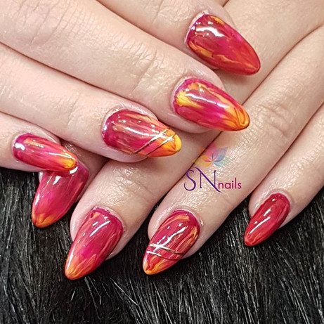 Sunset nails, SN Nails, South Shields