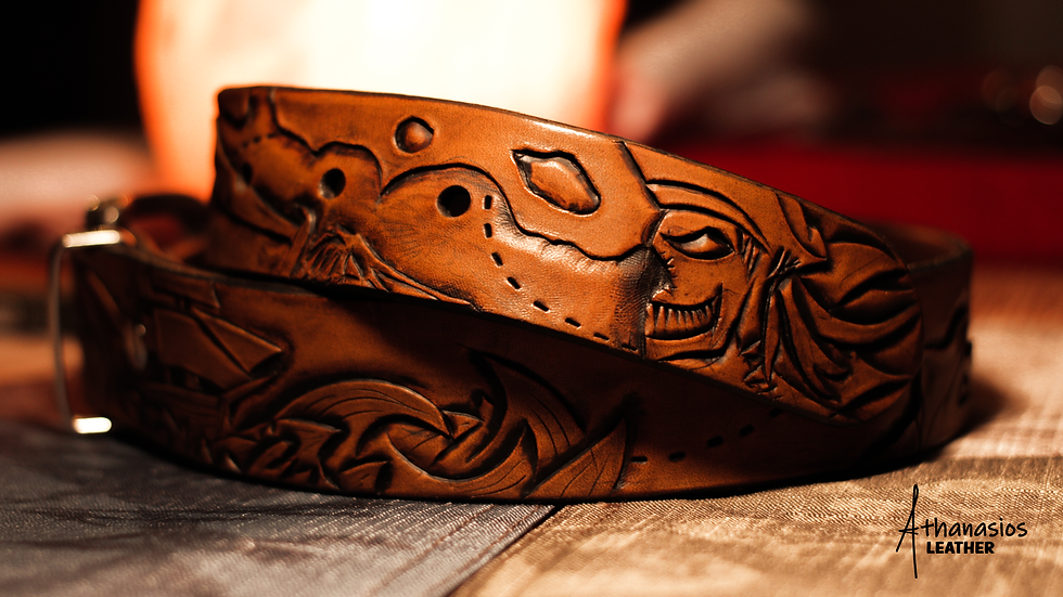 athanasios lazarou's hand tooled carved pirate belt with pirate seletons and ships in storms