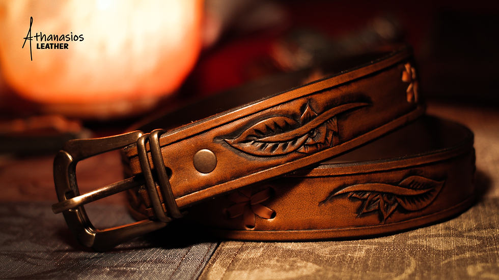 athanasios lazarou's hand tooled vegetable tanned leather floral belt with lacing