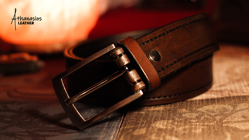 athanasios lazarou's hand-stitced vegetable tanned leather dress belt