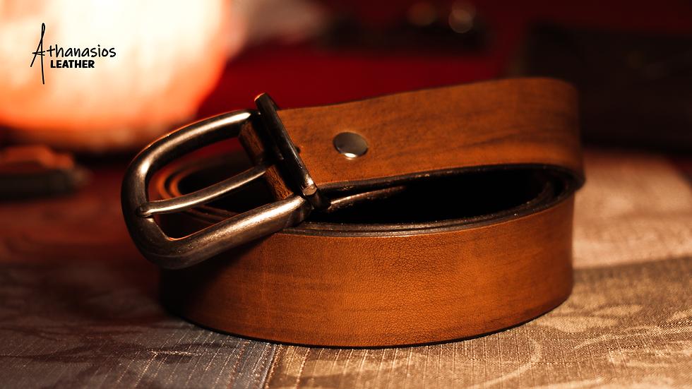 athanasios lazarou's simple vegetable tanned leather belt