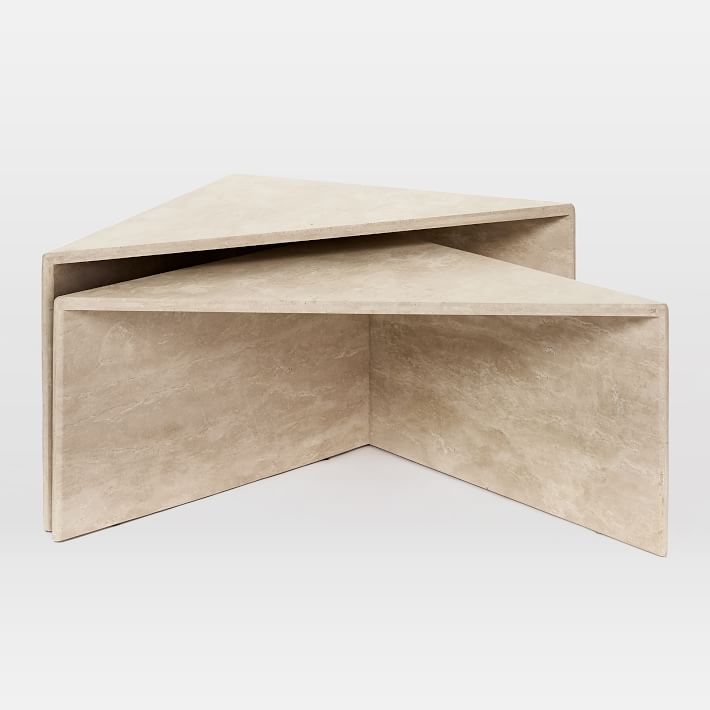 Nesting Travertine Side Table
