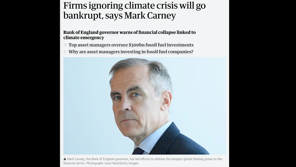 Mark Carney - firms  ignoring the climate crisis will go bankrupt