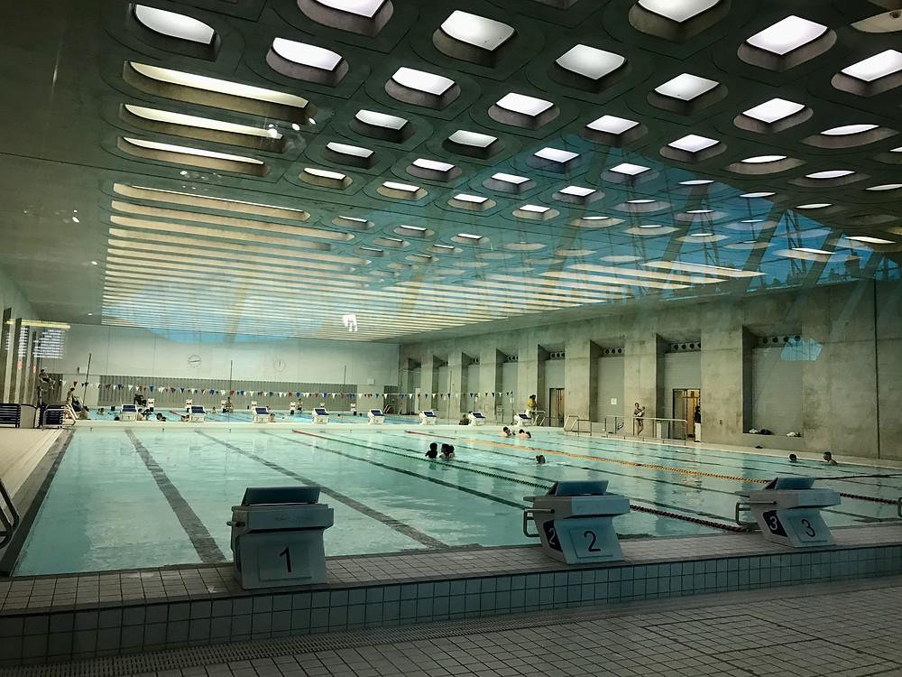 A large indoor swimming pool at London Aquatics Centre