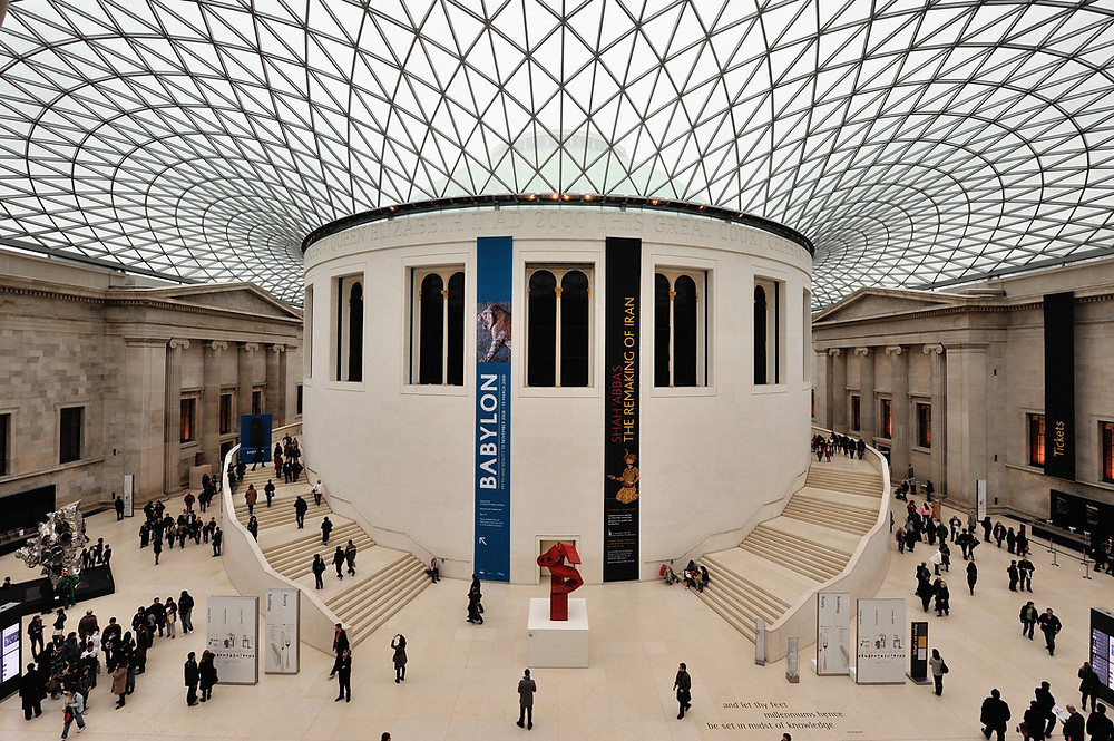 A picture of the interior of the British Museum.