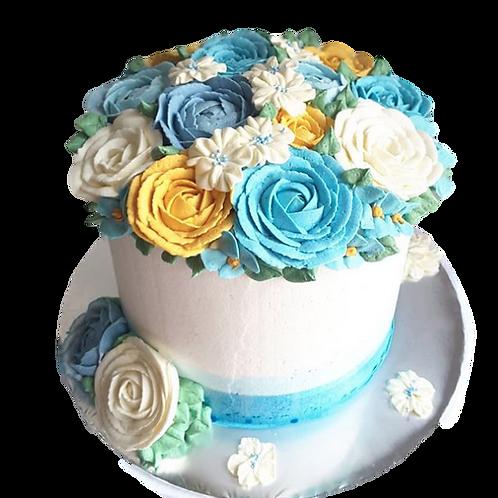 Blue Bouquet: Floral Piñata Cake - Blue Velvet Flavour