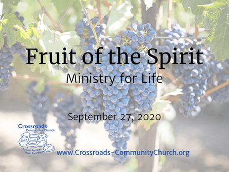 Fruit of the Spirit: Ministry for Life