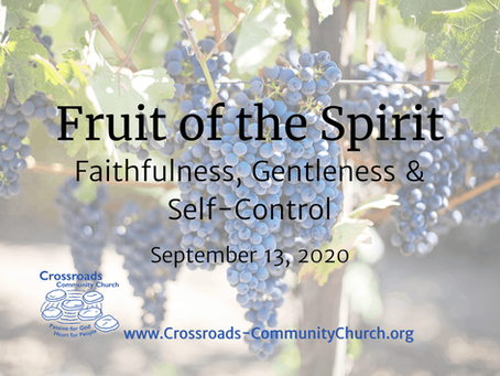 Fruit of the Spirit: Faithfulness, Gentleness and Self-control