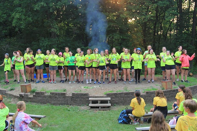 Program Aides at the campfire program on the last day of camp, 2021
